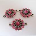 Hõbedane ühendaja roosade kristallidega