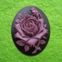 Kamee lilla roos mustal taustal/30x40mm