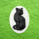 Kamee must kass valgel taustal/25x18mm