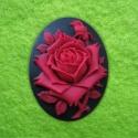 Kamee must/punane roos/40x30mm