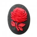 Kamee punane lill mustal taustal/40x30mm