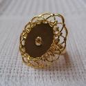 Kullatud pitsiline sõrmuse toorik/alaga18x13mm