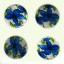 Pärlmutter helmes/sinine lill/30 mm.
