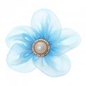Riidest lill alkrüülist pärliga/helesinine/7 cm