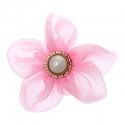 Riidest lill alkrüülist pärliga/roosa/7 cm