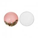 Roosa klaaskamee mustriga/20mm