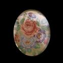 Vintage stiilis klaaskamee lillebuketiga/40x30mm