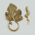 "Antique gold colored T-clasp ""Leaf"""
