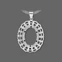 Silver plated pendant frame for cameo