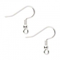 Silver coated earring hooks/ 20 mm