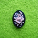 Black and pink cameo with a rose
