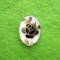 Kamee musta-kuldse lillega/18x13mm