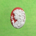 White and red cameo