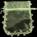 Kinkekott organza/lillelise pitsiga/16x14cm