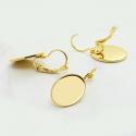 Kullaga kaetud kõrvarõngad/alaga14x10mm