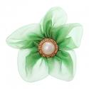Riidest lill alkrüülist pärliga/roheline/7 cm