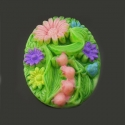 Colorful cameo with flowers